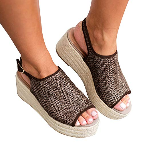 Athlefit Women's Espadrille Wedge Sandals Braided Jute Ankle Buckle Platform Sandals Size 8 Khaki ()