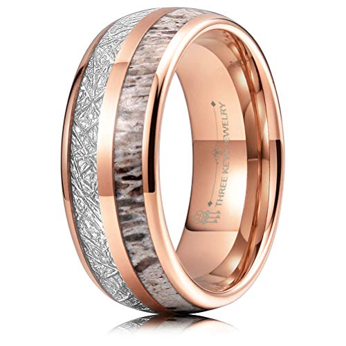 (THREE KEYS JEWELRY 8mm Rose Gold Tungsten Wedding Ring with Real Antler Imitated Meteorite Inlay Dome Hunting Ring Wedding Band Engagement Ring Size 7)