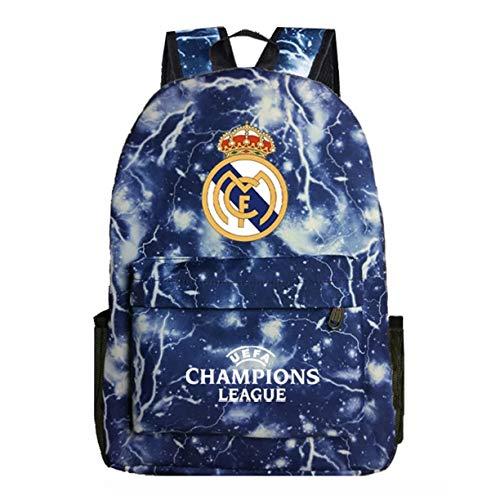 KK-Jim UEFA Real Madrid Mochilas de regreso a la escuela mochilas para exteriores, Azul (Blue Lightning), Talla única