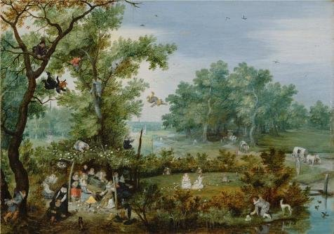 'A Merry Company In An Arbor,1615 Adriaen Van De Venne' Oil Painting, 12x17 Inch / 30x44 Cm ,printed On High Quality Polyster Canvas ,this Beautiful Art Decorative Canvas Prints Is Perfectly Suitalbe For Laundry Room Decor And Home Artwork And Gifts (Belted Cow Company compare prices)