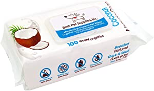 Coconut-Scented Moisturizing Pet Wipes for Dogs & Cats – Extra Soft & Strong Grooming Wipes with Gentle Plant-Derived Formula – by Best Pet Supplies, Model Number: WW-CO-100T