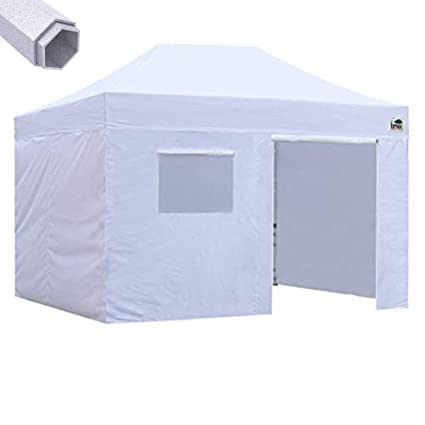 reputable site 0052f 03f46 Eurmax Premium 10x15 Pop up Canopy Instant Canopies Outdoor Party Tent  Shade with 4 Removable Enclosure Zipper End Sidewalls Walls +Roller Bag  (White)
