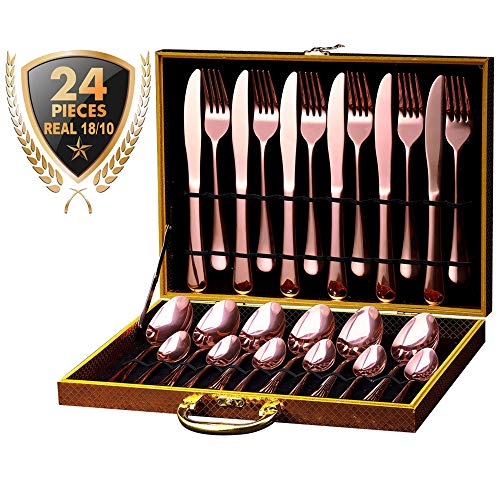 Silverware Flatware Cutlery Set, 24-Piece 18/10 Stainless Steel Utensils, Service for 6, Include Knives/Forks/Spoons/Tea Spoons, Mirror Polished, Dishwasher Safe Tableware Set (Rose Gold)