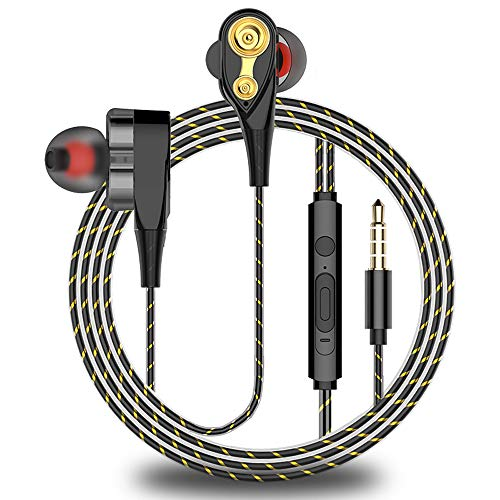 Earphones Headphones Earbuds, Balanced Bass Driven Sound, Noise Isolating, Stereo for iPhone, iPod, iPad, Samsung and Mp3 Players (with Mic)