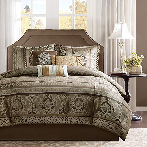 Madison Park Cozy Comforter Set-Luxurious Jaquard Traditional Damask Design All Season Down Alternative Bedding with…