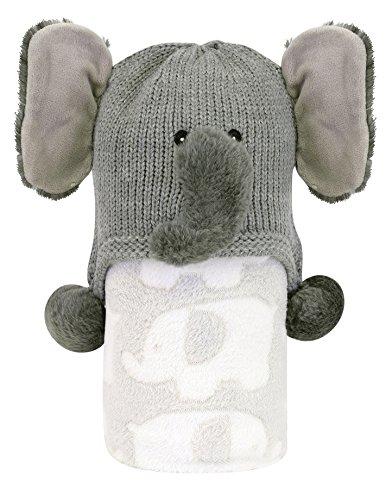 Stephan Baby Elephant Print Fleece Blanket and Knit Elephant Hat Stroller Set, Grey/White, 3-12 Months