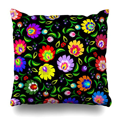 Decor Champ Throw Pillow Covers Old Polish Folk Floral Pattern Arts Retro Art Embroidery Ethnic Green Poland Home Decor Sofa Pillowcase Square Size 18 x 18 Inches Cushion Cases - Red Cotton Robe Envelope