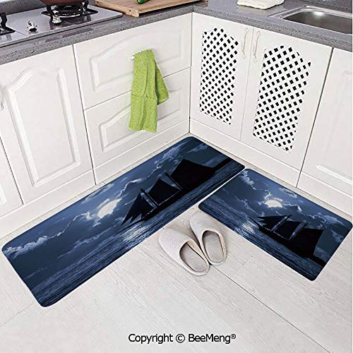 2 Piece Indoor Modern Anti-Skid Carpet Printed Block Bathroom Carpet,Pirate,Sail Boat on Sea at Dark Night Dramatic Sky Full Moon Unknown Waters Decorative,Black Violet Blue White,20x31in,20x59in (Black Sails Characters Based On Real Pirates)