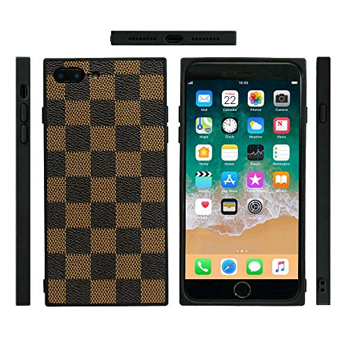 Supreme Neck Cover (iPhone 7 Plus / 8 Plus Fashion Designer Phone Case - New Square Styled Durable Hard Silicone Cover/Grip / Skins/Holder Pattern Print Technology (Brown))