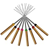Marshmallow Roasting Sticks Set of 8 Telescoping Smores Skewers & Hot Dog Forks 32 Inch Patio Fire Pit Accessories Camping Cookware Campfire Cooking Kids Fireplace Accesories - FREE Canvas Pouch