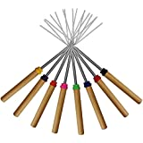 Marshmallow Roasting Sticks Set of 8 Telescoping Smores Skewers & Hot Dog Forks 32 Inch Patio Fire Pit Accessories Camping Cookware Campfire Cooking Kids Fireplace Accesories - FREE Canvas Pouch,