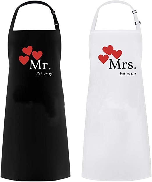 Great as a Wedding Gift or His /& Her Mr /& Mrs Apron Matching Couples NO DATE
