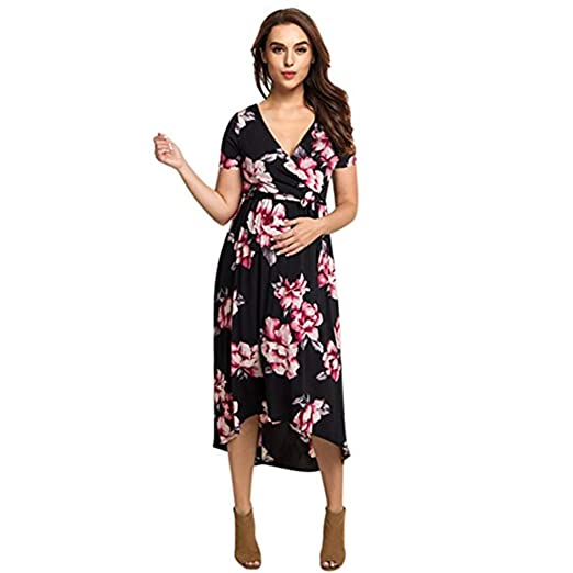 ad12b2588727e Image Unavailable. Image not available for. Color: Hemore Women's Nursing  Pregnancy Dress Short Sleeve V Neck Maternity Floral Printed Long Maxi  Dress Black