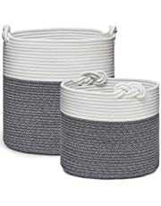 Set of 2 Cotton Rope Baskets with Lucky Knots Handles, Woven Storage Basket Bin for Laundry, Toys, Blankets, Plant Pot (Medium & Large, Dark Grey/White)