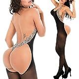 (US) QueensHot Silk Black Leopard Side Sexy Erotic Fishnet Halter Backless Leopard Bodystocking Catsuit Jumpsuit Lingerie Porn, Silk Black, L
