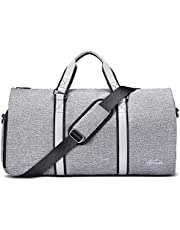 Suit Bag with Shoe Compartment, Fresion 2 in 1 Garment Bag/Suit Carrier Bag/Suit Cover Bag/Travel Bags/Duffle Bag/Overnight Bag/Weekend Bag/Flight Bag/Holdall for Men Women (Grey)