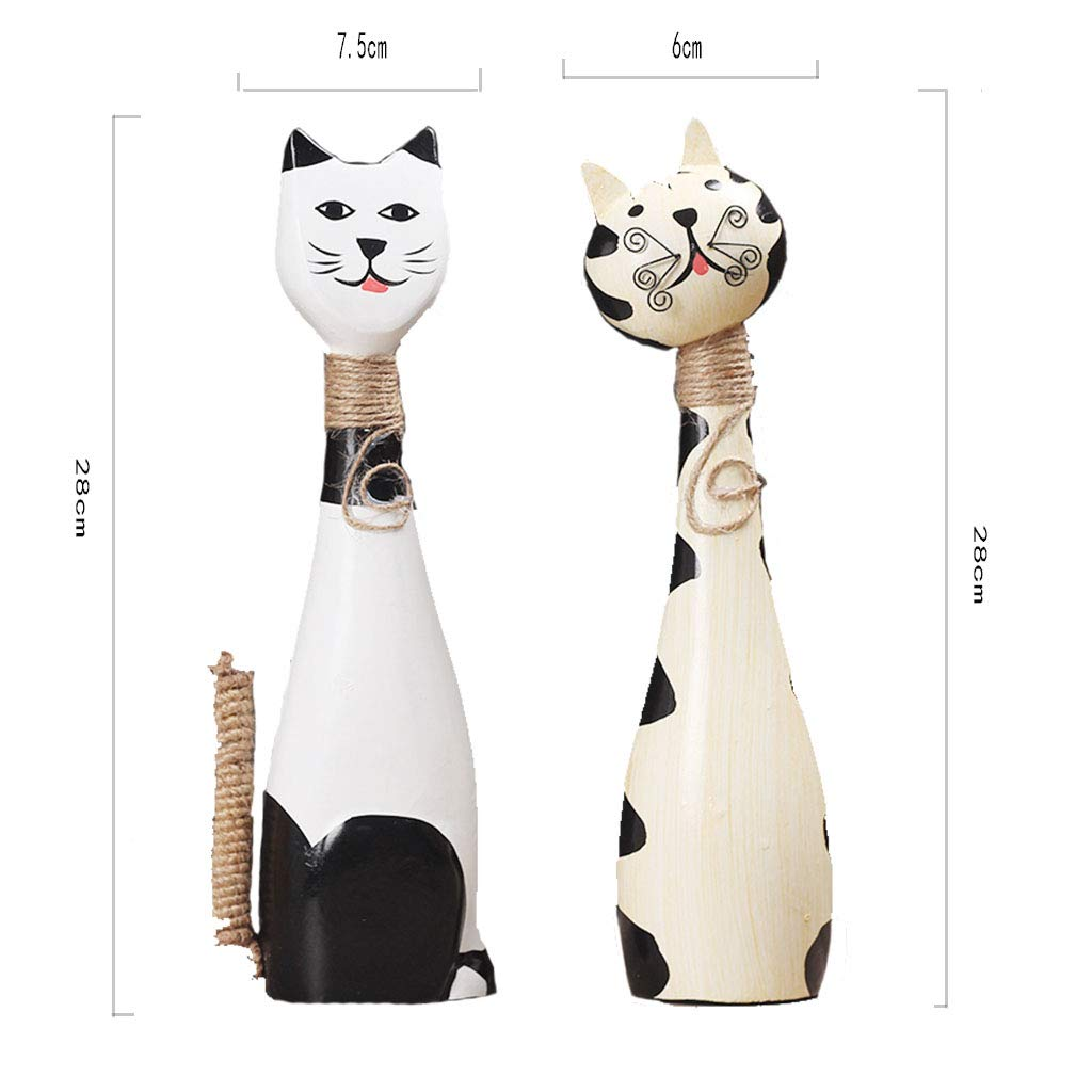 Ornaments for Home-Painted Wooden Kitten Creative Couple cat Living Room Decoration Home Decoration Craft Gift 8.55.531 (Color : A)