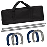 Powder Coated Steel Horseshoe Game Set with Carrying Case
