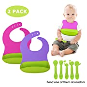 Adoric 2Pack Waterproof Baby Bibs with 1 Free Spoon, Silicone Baby Bib, Easy to Clean for Babies or Toddlers
