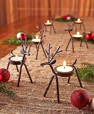Set of 6 Reindeer Tea Light Holders