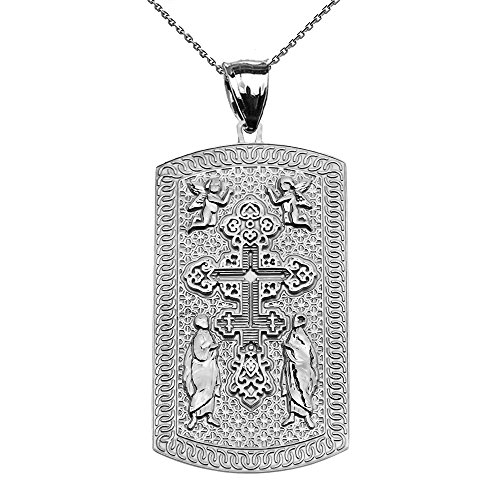14k Engraveable Cross Pendant - Russian Orthodox Cross 14k White Gold Engraveable Dog Tag Pendant Necklace 18