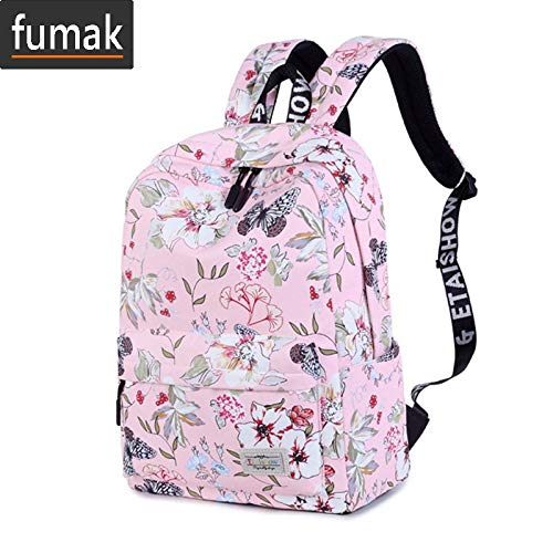 ... for Teenage Girls Floral Printed School Bags Travel Leisure Laptop Backpack Female Waterproof Backpacks Mochilas (White Big): Computers & Accessories