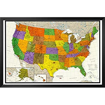 Amazoncom US Map Framed Poster X In Framed Map Of Us - Us map framed