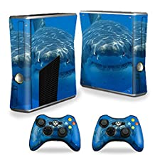 MightySkins Skin For X-Box 360 Xbox 360 S console - Shark | Protective, Durable, and Unique Vinyl Decal wrap cover | Easy To Apply, Remove, and Change Styles | Made in the USA