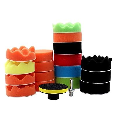 KKmoon 19 Pcs Drill Buffing Sponge Pads, Car Foam Polishing Pads Kit for Car Buffer Polisher Sanding Waxing Sealing Glaze: Automotive [5Bkhe0116390]