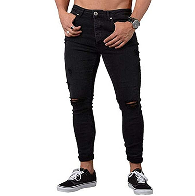 Musuos Mens Ripped Skinny Distressed Destroyed Straight Fit Jeans Denim Pants with Holes