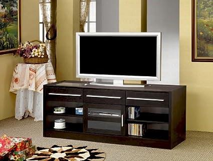 Estilo moderno LCD Plasma TV Soporte consola con estantes y cajones de almacenamiento en acabado en nogal. (artículo # Vista muebles cf700650): Amazon.es: Hogar