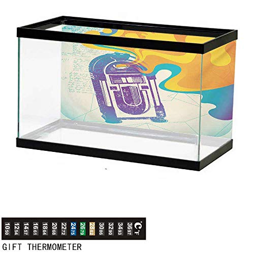 wwwhsl Aquarium Background,Jukebox,Retro Vintage Radio Music Box with Marigold Yellow Abstract Fog Like Image,Purple and Blue Fish Tank Backdrop 24