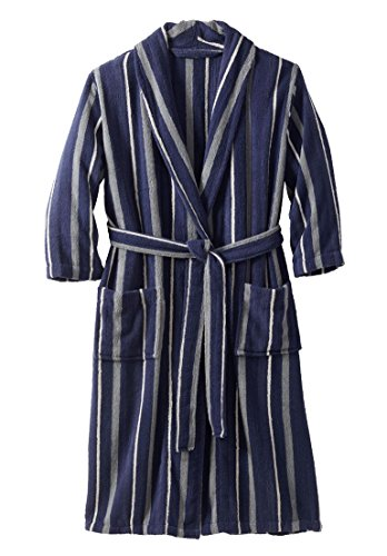 Tall Terry Cloth Robes (KingSize Men's Big & Tall Terry Bathrobe With Pockets, Crown Blue Stripe)