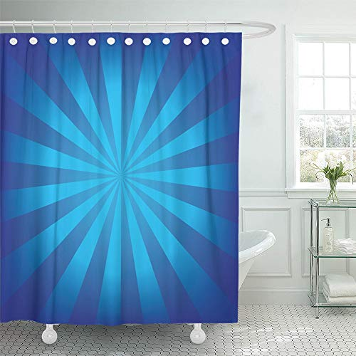 Emvency Shower Curtain Waterproof Adjustable Polyester Fabric Starburst Radial Blue Ray Sunburst Sun Stripes Beam Light Burst 72 x 72 Inches Set with Hooks for Bathroom (Starburst Ring Adjustable)