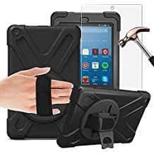 Gzerma Fire HD 8 Case with Screen Protector 2017, 3in1 [Kid Proof] [Shock Proof] Rugged Heavy Duty Defender Protective Cover, Kickstand, Hand Strap for Amazon Fire HD8 Tablet 7th Generation, Black