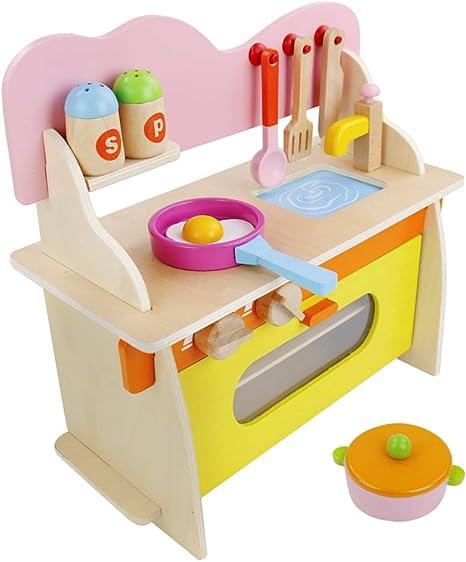 jerryvon Cucina Giocattolo per Bambini Pasqua Giochi Legno