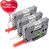 Color Label Printer - Anycolor Equivalent Brother P-touch TZe Label Tapes Love Heart Bottom Compatible with Brother P Touch Label Makers, 0.47 Inch Width, 13 Feet Length, 3 Colors Combo Set