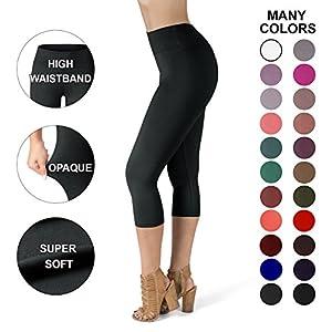 Sejora Satina High Waisted Super Soft Capri Leggings - 20 Colors - reg & Plus Size (One Size, Black)