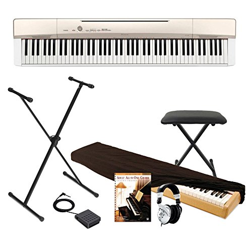 Buy Casio Privia PX160GD 88-Key Full Size Digital Piano with Power Supply, Keyboard Bench and Pedal,...