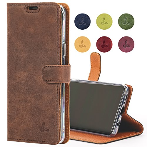 Snakehive Samsung Galaxy S9 Case, Genuine Leather Wallet with Viewing Stand and Card Slots, Flip Cover Gift Boxed and Handmade in Europe for Samsung Galaxy S9 - (Brown)