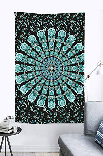 DBLLF Peacock Mandala Tapestry Tie Dye Peacock Feather Indian Mandala Tapestry Bohemian Wall Hanging Dorm Decor Flannel Bedspread for Living Room Decor Art (40×60Inches) DBLX051