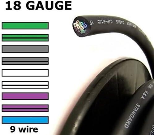 Audiopipe 10 Feet 9 Wire 18 Gauge Trailer Light Speed Cable Wiring Harness Speaker Speed