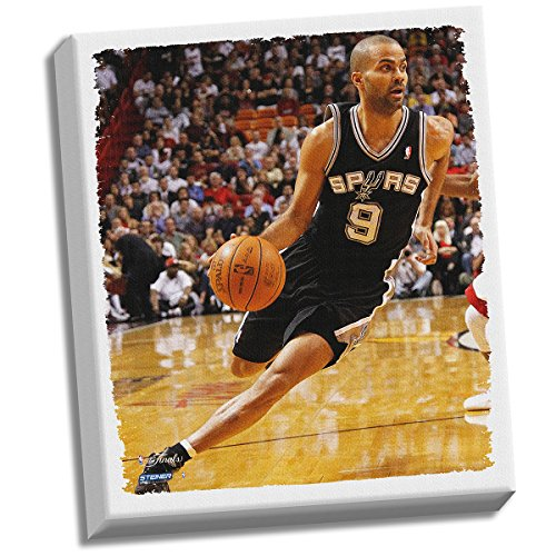 Tony Parker Drive To Basket Stretched 32x40 Canvas (Derek Jeter Gift Baskets)
