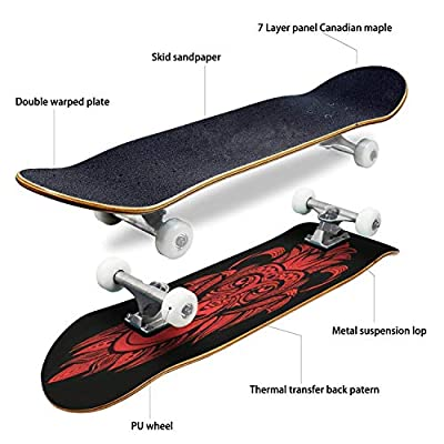 Classic Concave Skateboard red Monkey Head Longboard Maple Deck Extreme Sports and Outdoors Double Kick Trick for Beginners and Professionals : Sports & Outdoors