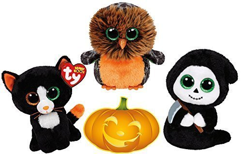 Ty Beanie Boos Halloween Midnight Owl, FRIGHTS Cat and GRIMM Ghost Set of 3 Scary Friends with Bonus Pumpkin (Halloween Beanie Boo Owl)