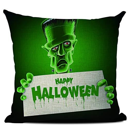 Yinrunx Happy Halloween Pumpkins Witches Castle Bats Lantern Printed Decorative Pillowcase Cotton Linen Throw Pillow Covers for Party Festival Home Decor 44x44cm/17.3