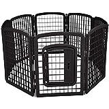 AmazonBasics 8-Panel Plastic Pet Pen Fence Enclosure With Gate - 64 x 64 x 34 Inches, Black