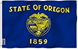 Anley |Fly Breeze| 3x5 Foot Oregon State Flag - Vivid Color and UV Fade Resistant - Canvas Header and Double Stitched - Oregon OR Flags Polyester with Brass Grommets 3 X 5 Ft