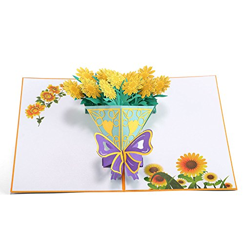 HeartMoon Pop up Sunflowers Bouquet Cards Birthday Mothers Day Handmade 3D Gradution Card Thank you Get Well Flowers Card for All Occasions ()