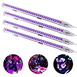 Viugreum 4 Pack UV Black Lights LED Bar,9W Portable Blacklight Fixture for Blacklight Poster,Party,Festivals,Halloween UV Art,Ultraviolet Curing,Uthentication Currency,Stain Detector (Ship from USA)